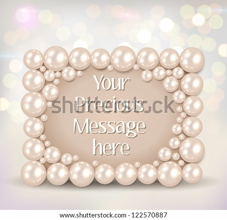 shiny pearls frame on bokeh background vector illustration