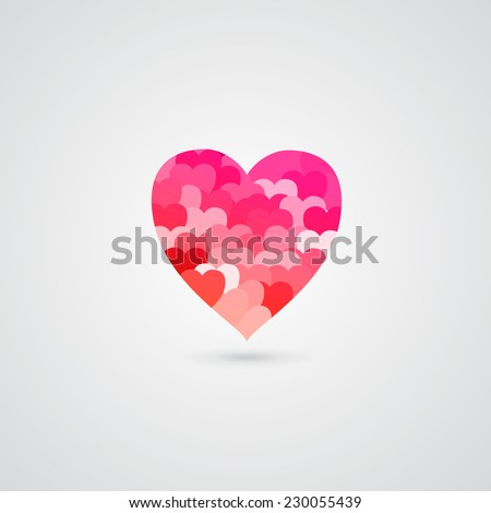 Shiny Pink Heart isolated on white background - stock vector