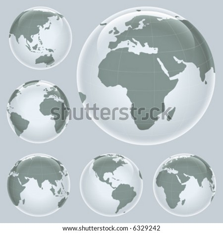shiny planet earth map from six views; illustration