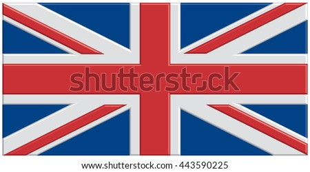 Shiny plastic Union Jack flag. - stock vector