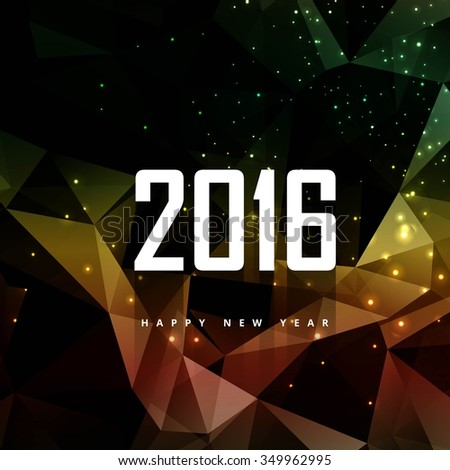 Shiny polygonal new year background - stock vector
