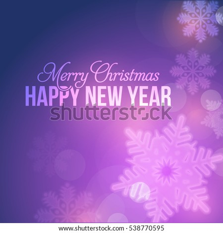 Shiny Postcard with Happy New Year and Merry Christmas Celebration, Web Banner Template. Greeting Card Design, Vector Winter Snowflakes Elements in Brilliant Violet Colors Background. Flyer, Poster.