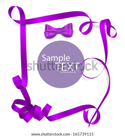 Shiny purple ribbon on white background with copy space. Vector illustration. - stock vector