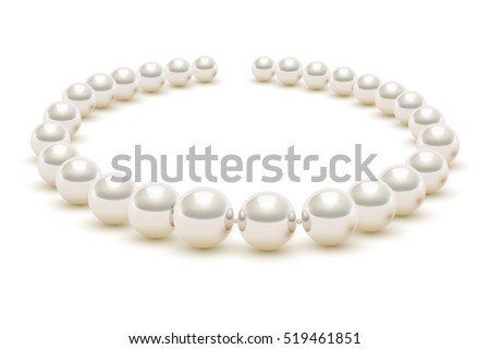 Shiny realistic Pearl necklace on white background, vector illustration, isolated