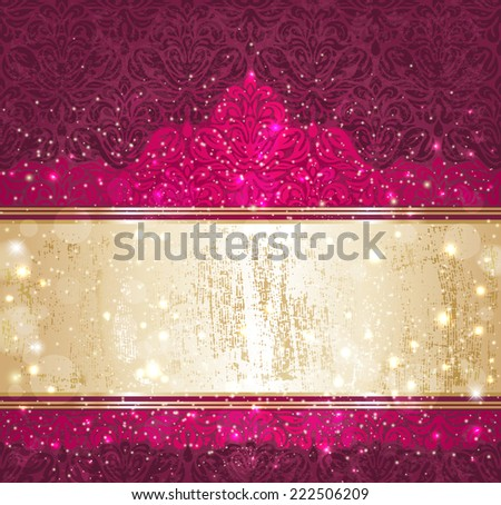 Shiny red and gold  luxury vintage christmas card design - stock vector