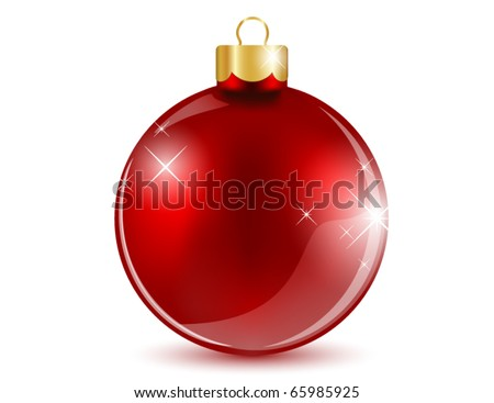 Shiny red ball - stock vector