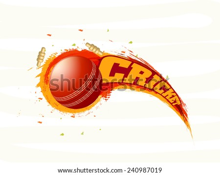 Shiny red ball with bails and paint strokes on stylish background - stock vector