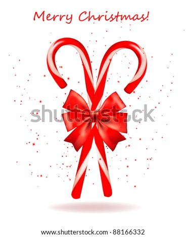 Shiny red Christmas candy cane with bow. Vector illustration. - stock vector