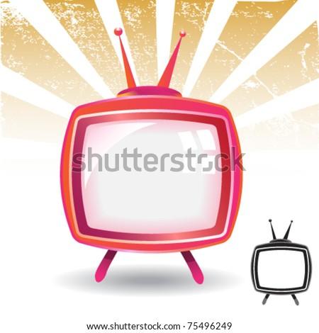 shiny retro tv and silhouette - stock vector