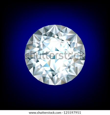 Shiny round diamond on blue background - stock vector