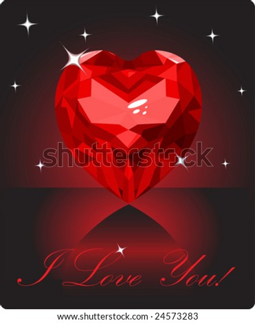 Shiny ruby love heart on black background - stock vector
