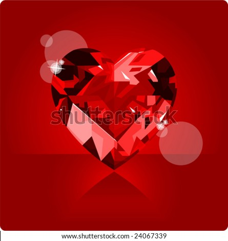 Shiny ruby love heart on red background - stock vector