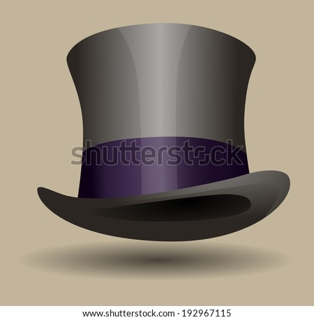 Shiny silk top hat with a purple ribbon - stock vector