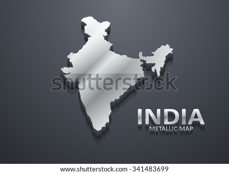 Shiny Silver Indian Map - stock vector