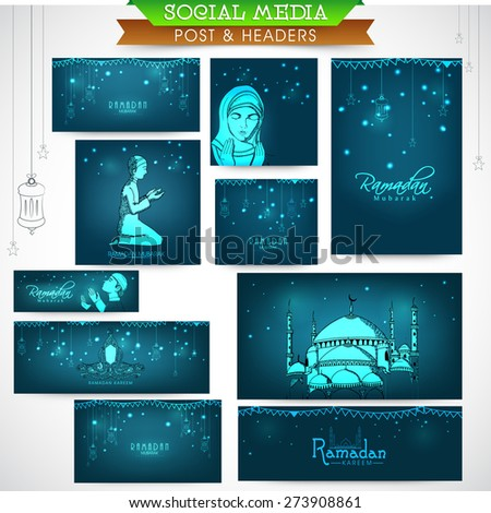 Shiny social media ads header or banner set with various Islamic elements for holy month of Muslim community, Ramadan Kareem celebration. - stock vector
