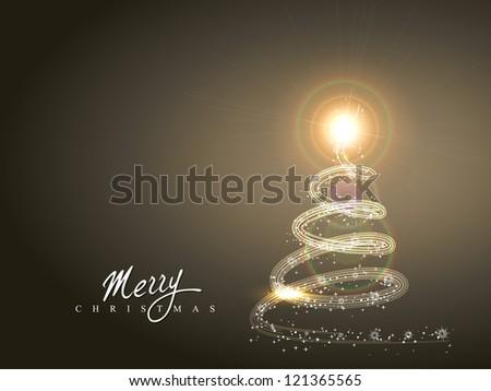 shiny sparkle christmas tree vector design - stock vector