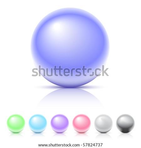 Shiny spheres set - stock vector
