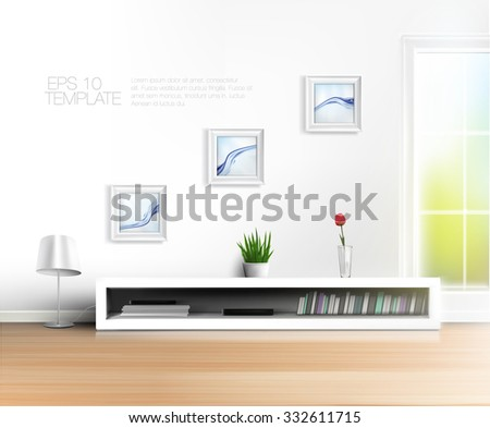 Shiny spring living room wall with bookshelf and framed pictures. High quality vector