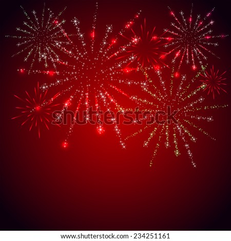 Shiny stars and fireworks on red background, illustration. - stock vector
