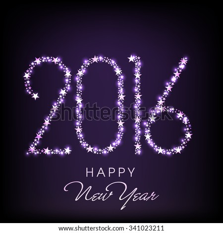 Shiny stars decorated creative text 2016 on purple background for Happy New Year celebration. - stock vector