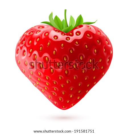 Shiny strawberry heart with green leaves isolated on white background - stock vector
