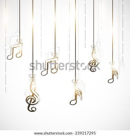 Shiny stylish hanging musical notes on stylish background. - stock vector