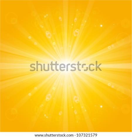 shiny sun beams, natural summer background - stock vector