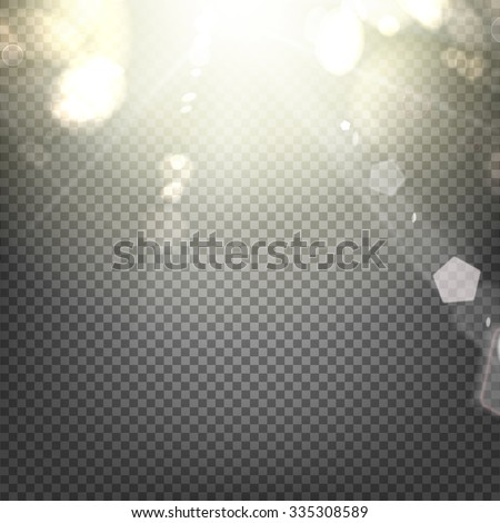 Shiny sunburst of sunbeams on the abstract sunshine background and transparency background. Vector illustration. - stock vector