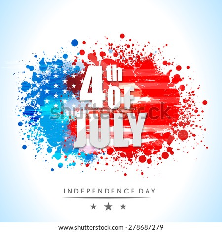 Shiny text 4th of July on national flag colors splash background for American Independence Day celebration. - stock vector