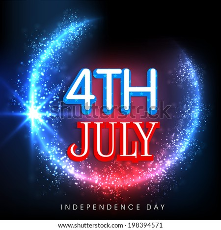 Shiny 4th of July text on blue and red background for American Independence Day celebrations.  - stock vector