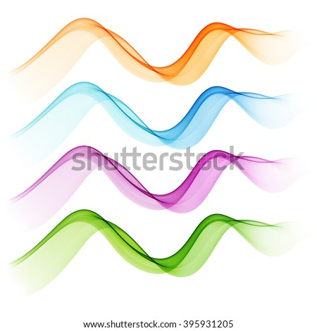 Shiny transparent green, blue, purple and orange wave
