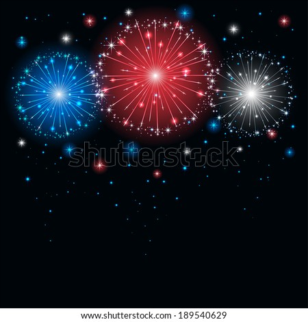 Shiny tricolor firework on the dark sky, illustration. - stock vector