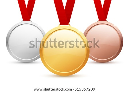 Shiny vector blank gold, silver and bronze medal templates with copyspace for your text