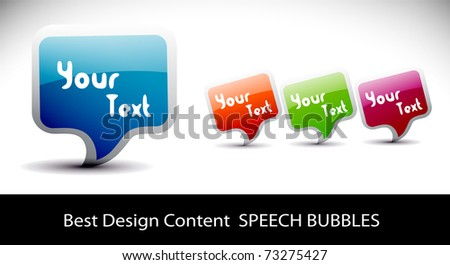 Shiny vector bubbles for speech , editable illustration - stock vector