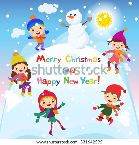 Shiny vector christmas background with funny snowman and children. Happy new year postcard design with boy and girl enjoying the holiday. Winter snow with bokeh effect. 2016 card art - stock vector