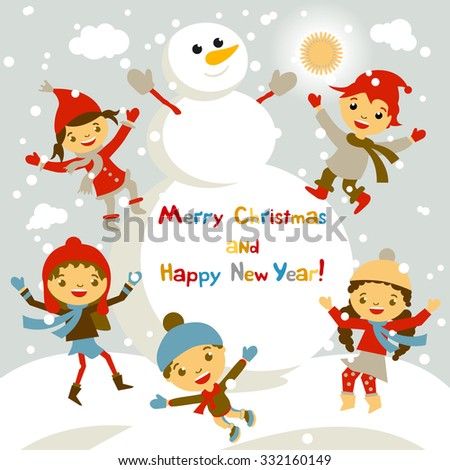 Shiny vector christmas background with funny snowman and children. Happy new year postcard design with boy and girl enjoying the holiday. Winter snow with bokeh effect. 2016 card art