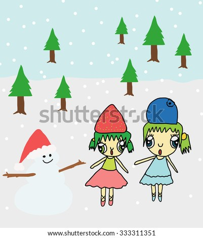 shiny vector christmas background with funny snowman and two girl - stock vector