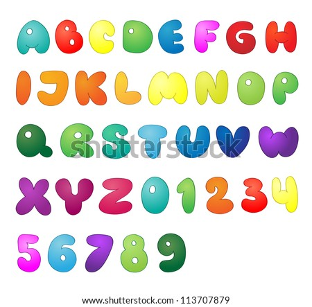 Shiny vector letters and numbers - stock vector
