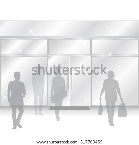 Shiny vector Shop Glass Store Facade with people figures coming out