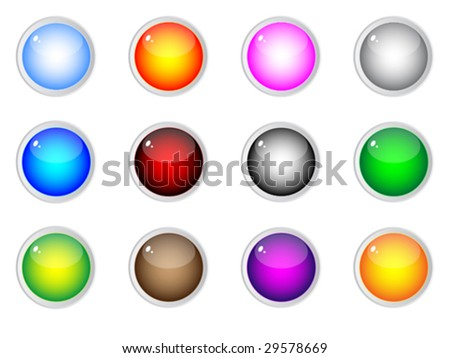 shiny web buttons different colors vector illustration