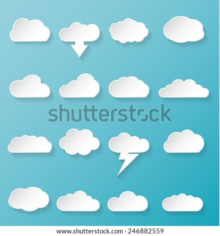 Shiny White Cloud Icons for Cloud Computing for Web and App on a Blue Background. Vector illustration - stock vector