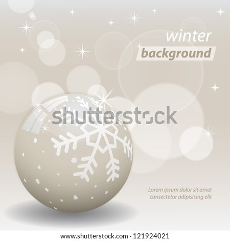 Shiny winter background in champagne color. Vector illustration. - stock vector