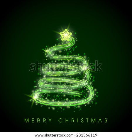 Shiny X-mas tree decorated with star on black background for Merry Christmas celebrations . - stock vector