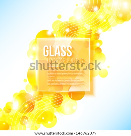 Shiny yellow geometric background with glass panel. Vector image. - stock vector