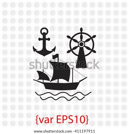 Ship, Anchor and Rudder icon. Ship, Anchor and Rudder vector. Simple icon isolated on gray background. - stock vector