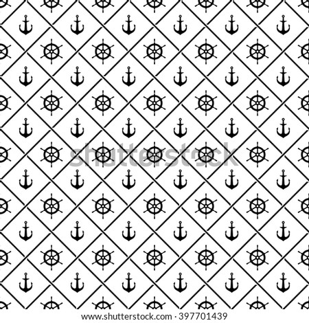 Ship anchors and yacht boat helm rudder with crossing sea ropes seamless pattern. Black and white. - stock vector