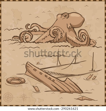 ship and octopus map vintage - stock vector