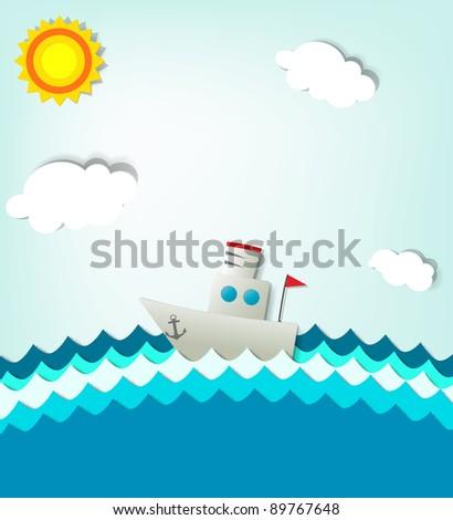 ship at sea - stock vector