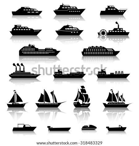 Ship Boat Icons - stock vector