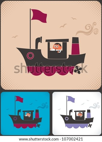 Ship Captain: Cartoon ship and its captain.  No transparency and gradients used. - stock vector